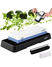 Knife Sharpening Stone, Whetstone Dual Sided 1000/6000 Grit Waterstone with Angle Guide Non Slip Rubber Base Holder, Knife Sharpeners Tool Kit for Kitchen Hunting (Blue + black)