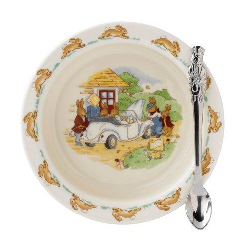 Bunnykins by Royal Doulton Nursery Set Baby Plate, Feeding Spoon, Multi-Colour, 2-Piece by Bunnykins By Royal Doulton