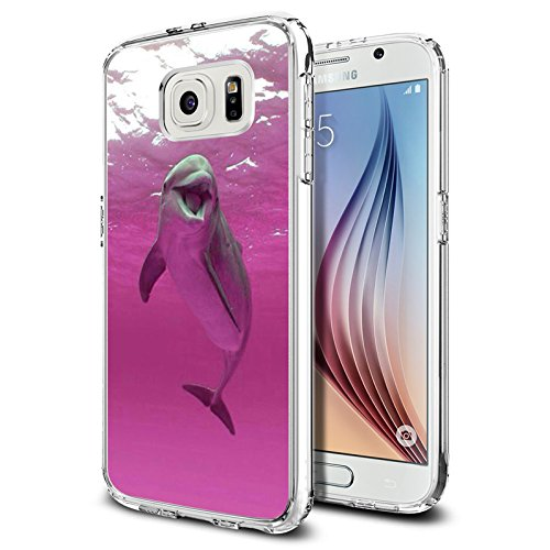 Pink Case Dolphin (Galaxy S6 Case Samsung Galaxy S6 Case TPU Non-Slip High Definition Printing Pink dolphins)