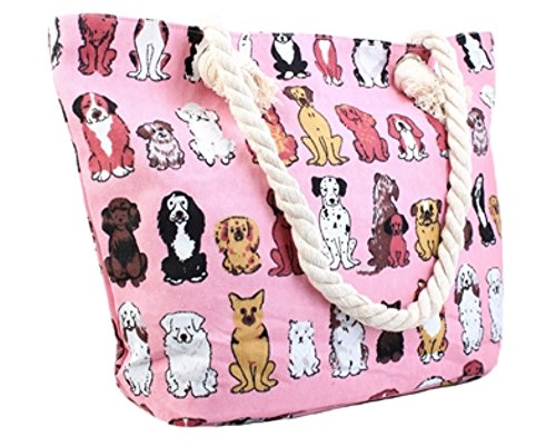 Girl Canvas Tote (Canvas Tote Bag - Shoulder Tote, Perfect for School, Work, or the Beach. Large Compartment - Puppy and Dogs Theme 17 x 12 - Multiple Colours (PINK))