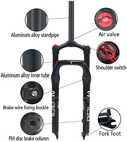 GXFWJD 26インチエアサスペンションバイクフォーク MTB スノー自転車フォーク 1-1 / 8