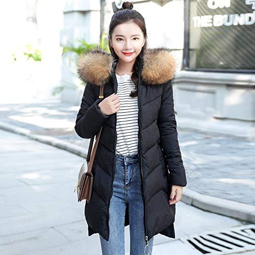 Manteau Noir A Grande Femmes Coton Fourrure Blouson Chaud Capuche Coat Longue Taille Faux Lovelyou Épais zippé Manteaux Comfortable Mode Doudoune Outwear BtRBw