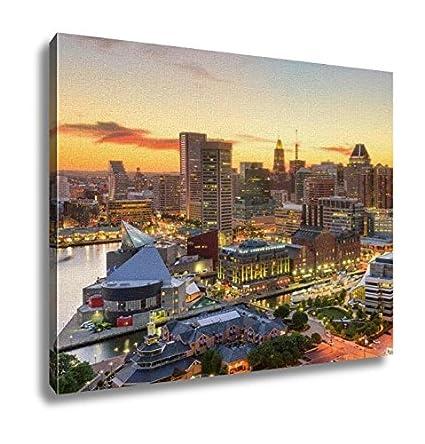 Amazon Ashley Canvas Baltimore Maryland Skyline Wall Art Home