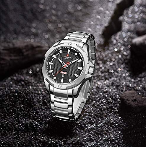 NAVIFORCE Mens Stainless Steel Watch Analog Quartz Waterproof Sport Watches Business Fashion Date Calendar Multifunctional Wristwatches for Men