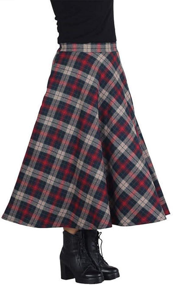 YKJL Faldas de Lana a Cuadros de Mujer Cintura Alta Falda Larga ...