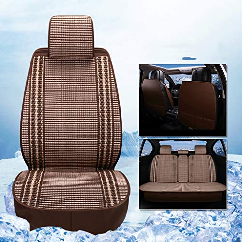 Summer Ice Silk Car Seat Cover,Auto Beauty 4S Shop Dedicated to 3D Cushions, Summer Supplies Hand-Woven Ice Silk Four Seasons Mat (Color : Brown)