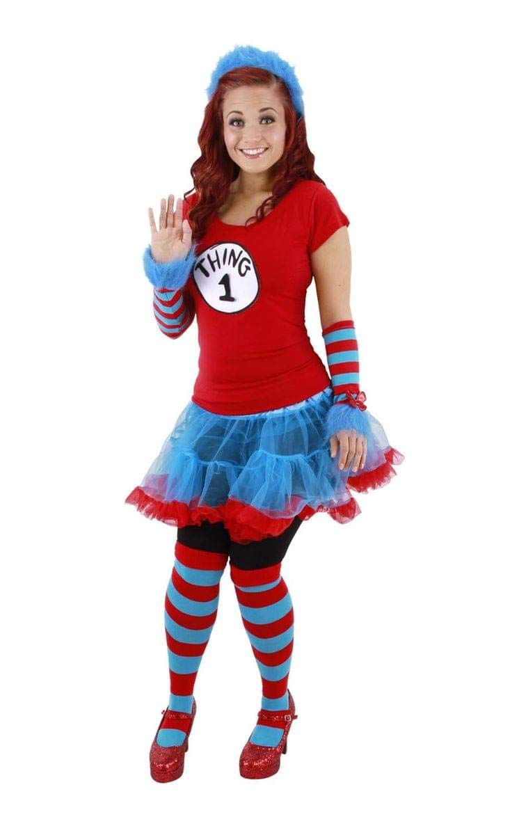 elope Cat in the Hat Thing 1 and Thing 2 Fuzzy Head Band, Blue, One Size 104510