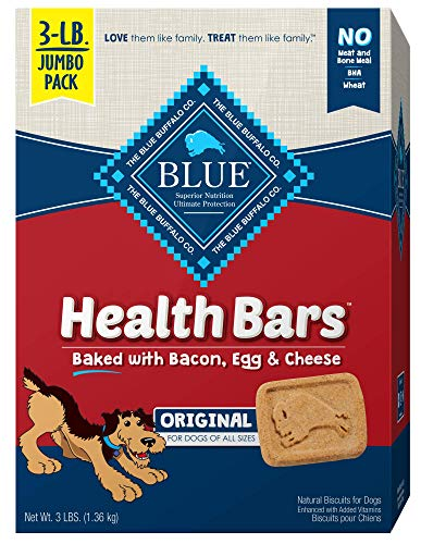 Blue Buffalo Health Bars Natural Crunchy Dog Treats Biscuits, Bacon, Egg & Cheese 48-oz box(Packaging May - Dog Natural Biscuits