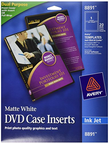 Avery dvd case inserts matte white 20 inserts 8891 for Avery dvd case template