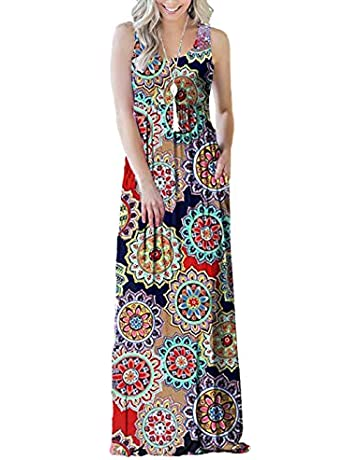 722a172559fa SWQZVT Women's Summer Bohemian Floral Dresses Sleeveless Pockets Racerback Scoop  Neck Casual Long Maxi Tank Dress