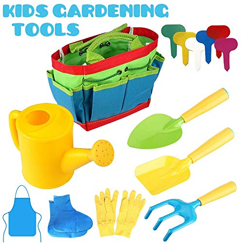 SthAbt - 58Pcs Outdoor Kids Gardening Tools Gardening Planting Project with Watering Can, Gloves, Shovel, Rake, Trowel, Apron, Galoshes and Plastic Plant Label Tag (3 4 Trowel)