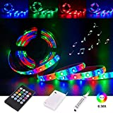 Led Light Strip Battery Powered,Tenmiro Sync to Music Color Changing Waterproof Strip Light with 20-Key Remote Controller,6.56 ft/2m 5V Battery Case,SMD 3528 60 LEDs,DIY Outdoor Party Romantic Light