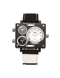 OULM 3595 Men's Military Sport Multi Time Zone Canvas Band Quartz Watch-White