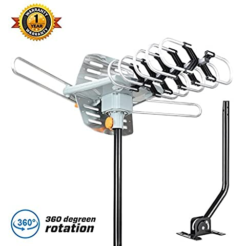 HDTV Antenna,GET Amplified Digital TV Antenna 150 Miles Range 360° Rotation Outdoor Digital HDTV Antenna-Wireless Remote with adjustable mount (Uhf To Hdmi Adaptors)