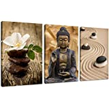 "Live Art Decor - Buddha Canvas Wall Art Decor Flower and Basalt Stones Picture Photo on Canvas Stretched and Framed Zen Art Modern Home Decoration Spa Decorations - 48""W x 24""H overall"