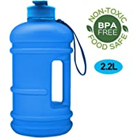 RICWINANN Water Jug 2.2L Large Sport Water Bottle Big Capacity Leakproof Container BPA Free Plastic with Carrying Loop Fitness for Camping Training Bicycle Hiking Gym Outdoor