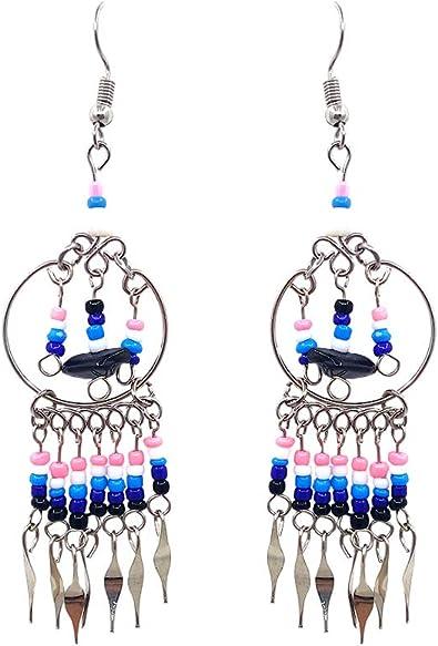 "2/"" Black White Double Teardrop Hoop Handmade Seed Bead Dangle Earrings"