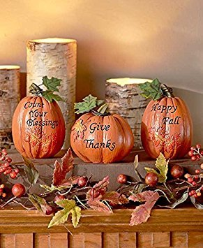 Set Of 3 Inspirational Pumpkins Table Top Home Accent Decor Haunted House Prop Autumn Fall Harvest