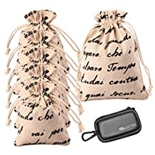 JHGJ Reusable Fabric Gift Bag, Candy Jewelry Party Favor Burlap Bags Pouch Wedding Decoration with English Alphabet Pattern for Jewelry/ Gift /Candy/Accessories Packaging and SUIFN CASE (Pack of 10)