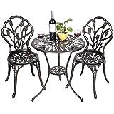 Patio Bistro Set Cast Aluminum Tulip Design Antique Copper 3pc Outdoor Patio Furniture