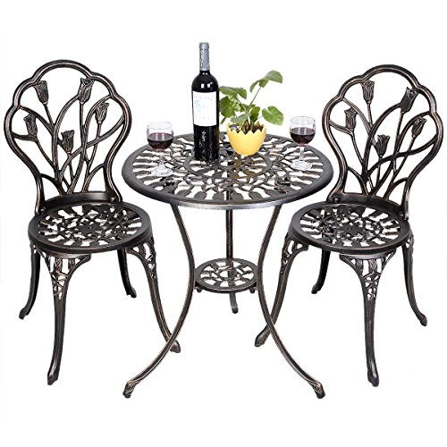 Patio Bistro Set Cast Aluminum Tulip Design Antique Copper 3pc Outdoor  Patio Furniture by U.A.A. INC - Patio Bistro Set Cast Aluminum Tulip Design Antique Copper 3pc