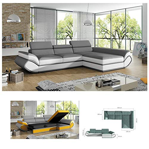 Bmf Genesis Mini Grey White Modern Corner Sofa Bed Storage