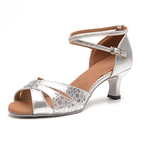 Women's Latin Dance Shoes with Soft Sole Female Latin Sandals Indoor Ballroom Dance Shoes (6 B(M) US, silver-outdoor)
