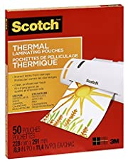 """Scotch Thermal Laminating Sheets, 9"""" x 11.5"""", 3-Mil Thick, 50 Laminating Pouches"""