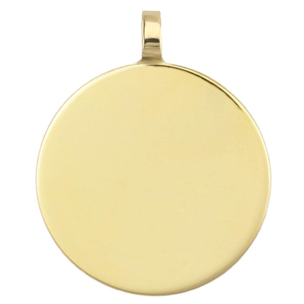 starjewel Gravurplatte Anhänger rund 585 Gold 16mm, beidseitige Gravur gratis AN160016