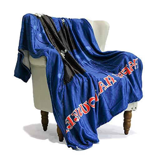 SimbaDeco Throw Blanket for Sofa Cartoon Horror Death Grim Reaper Halloween Decorative Sofa Bedding Blankets Super Soft Flannel Plush Sherpa Fleece 50x70 Inch Black and Blue ()