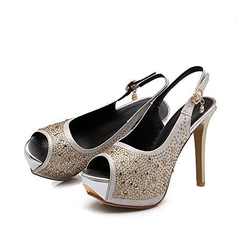Allhqfashion Womens Pull On Spikes Stilettos Pu Sandali Peep Toe In Argento Massiccio