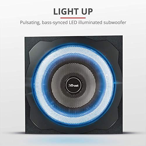 Trust Gaming GXT 658 Tytan 5.1, Sistema de Altavoces 5.1 con Iluminación LED y Sonido Envolvente, Alámbrico, Negro