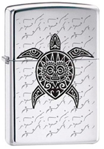 Polynesian Hawaiian Sea Turtle Tattoo Chrome Zippo Lighter