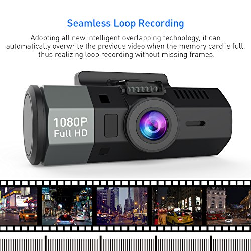 Crosstour Dash Cam 1080P FHD DVR Car Dashboard Camera Video Recorder for Cars 170° Wide Angle WDR with 2 inch LCD, Loop Recording, G-Senso,Night Vision and Motion Detection