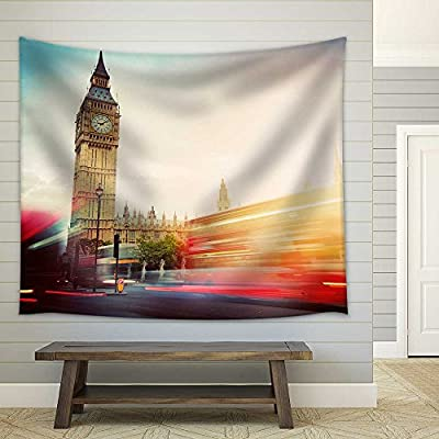London, The UK. Red Buses in Motion and Big Ben - Fabric Wall Tapestry Home Decor - 51x60 inches