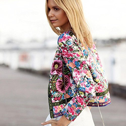 Amazon.com: Womens Cardigan,Toponly Women Floral Printed Short Jacket Long Sleeve Cardigan Bridal satin (pink, M): Health & Personal Care