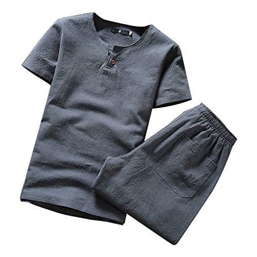 - 2 Piece Outfits Loungewear for Men,NEWONESUN Mens Pjs Short Sleeve T-Shirt Shorts Suit Tracksuit Summer Gray