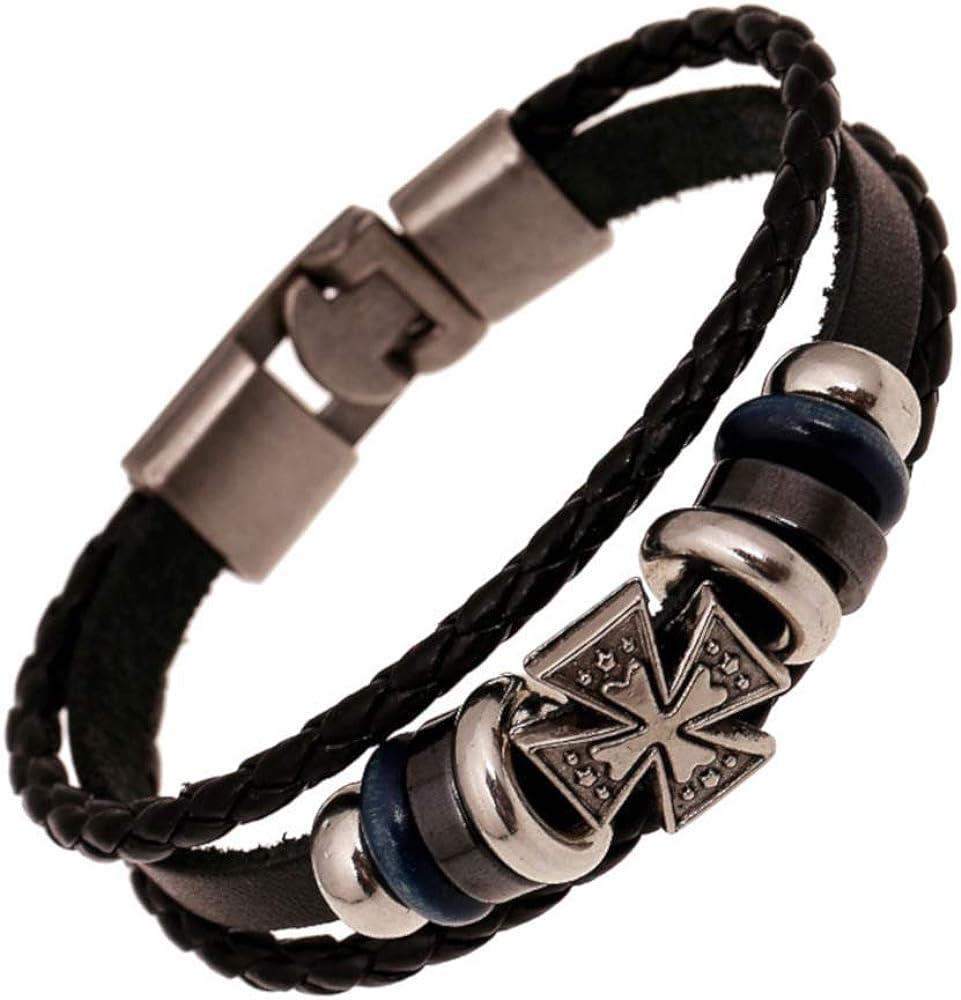XtraElegant Bracelet en Cuir pour Homme avec Croix en Cuir Style Rocker Biker Vintage