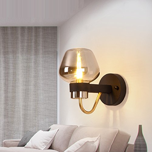Waineg Modern Luxury Glass Wall Lamp Black Wrought Iron Chassis Creative Living Room Bedroom Aisle Plated Glass Wall Lamp Designer Lamps E27 Bar Ktv Wall Lights 110V 220V by Waineg (Image #1)