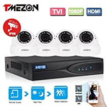 TMEZON 1080P HD-TVI + DVR Video Security System 4CH 1080P DVR with 4x HD 1920TVL 2.0 MegaPixels 2.8-12mm Weatherproof CCTV Camera Supports up to 6TB HDD