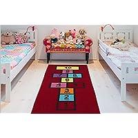 Ottomanson Childrens Garden Collection Red Educational Titled Hopscotch Design 27 X60 Children Nursery Kids Play Runner Rug