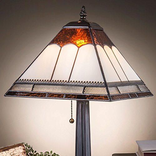 J Devlin Lam 684 TB Tiffany Stained Glass Mission Table Lamp Ivory Brown Clear Metal Filigree Accent - Brown Lamp Art Glass Table