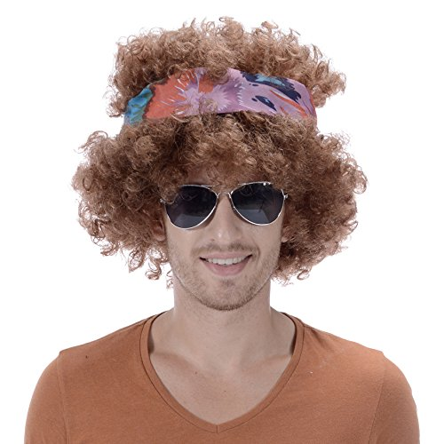 Hippy Men Blonde Brown Curly Afro Wig-Synthetic Men's 60s 70s Hippie Chick Costume Halloween Party Woodstock Festival Wigs with Headband -
