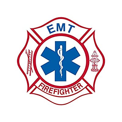 White Maltese Shaped EMT Firefighter Sticker (Medical fire Emergency): Automotive