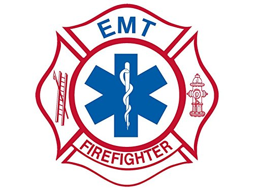 White Maltese Shaped EMT FIREFIGHTER Sticker (medical fire emergency) - Firefighter Emt Decals