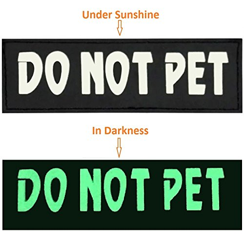 DO-NOT-PET-Velcro-Dog-Patches-26-by-Reopet-Night-Luminous-Reflective-Vest-Harness-Patches-2-Pack