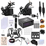 (US) Shark Complete Tattoo Kit 2 Machines Gun Power Supply Needles Grips Tips