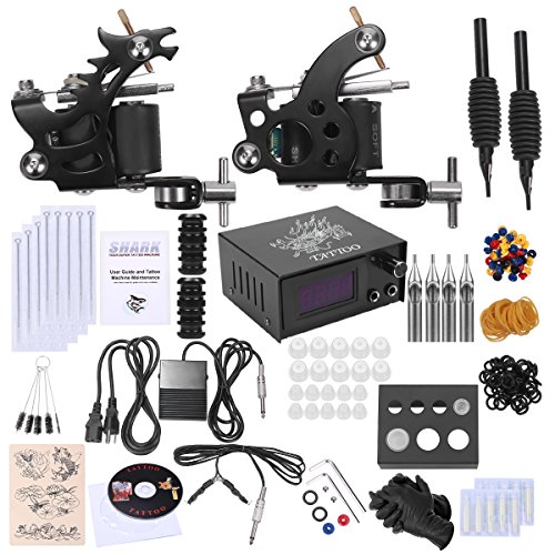 Shark Complete Tattoo Kit 2 Machines Gun Power Supply Needles Grips - Lcd Shark
