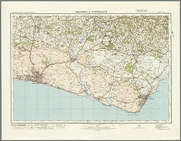 Carte Dangleterre.Brighton Et Eastbourne Carte D Etat Major D Angleterre Et Pays De