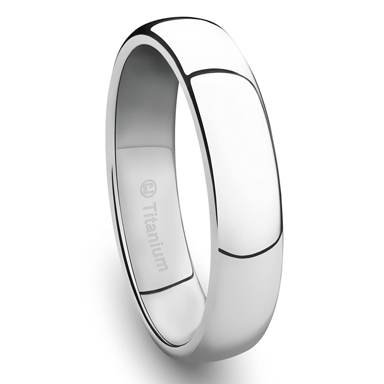 4MM Titanium PlatinumPlated Ring Classic Wedding Band with